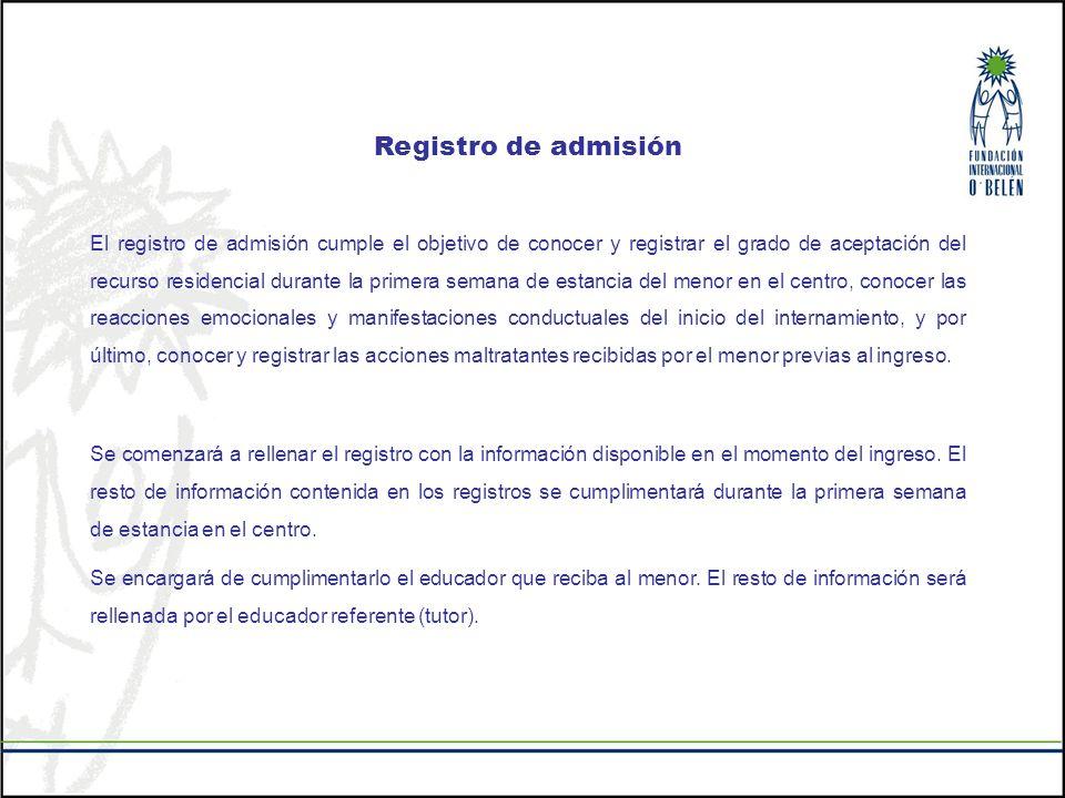 Registro de admisión El registro de admisión cumple el objetivo de conocer y registrar el grado de aceptación del recurso residencial durante la prime