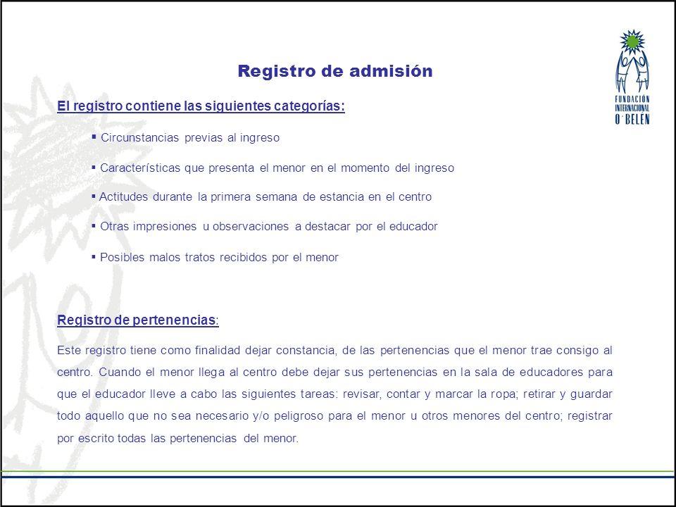 Registro de admisión El registro contiene las siguientes categorías: Circunstancias previas al ingreso Características que presenta el menor en el mom