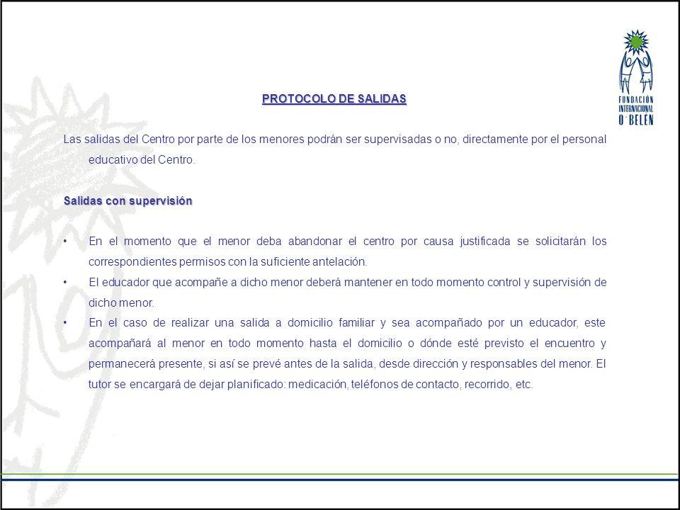 PROTOCOLO DE SALIDAS Las salidas del Centro por parte de los menores podrán ser supervisadas o no, directamente por el personal educativo del Centro.