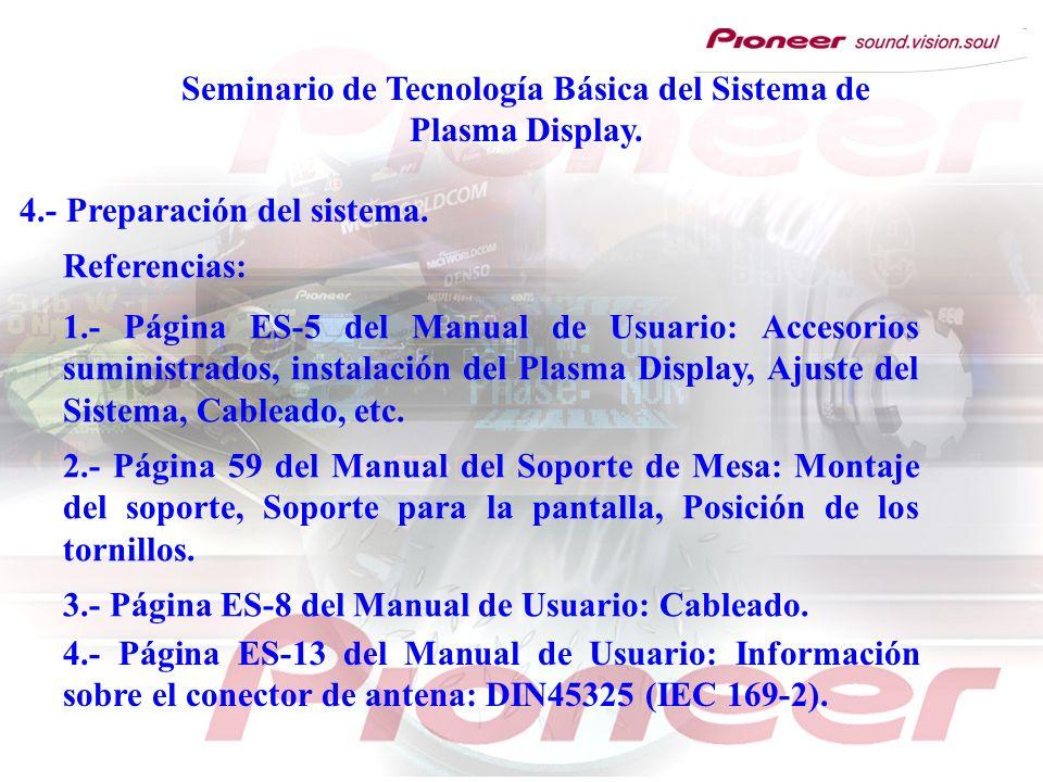 4.- Preparación del sistema. Referencias: 1.- Página ES-5 del Manual de Usuario: Accesorios suministrados, instalación del Plasma Display, Ajuste del