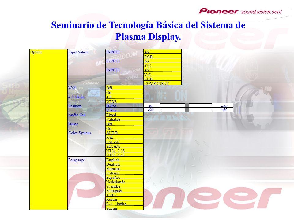 Seminario de Tecnología Básica del Sistema de Plasma Display. OptionInput SelectINPUT1AV RGB INPUT2AV Y/C INPUT3AV Y/C RGB COMPONENT WSSOff On 4:3 Mod