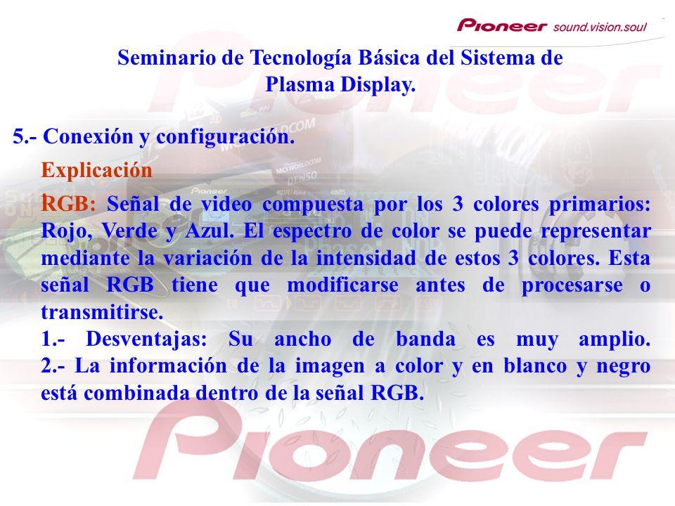 Seminario de Tecnología Básica del Sistema de Plasma Display. 5.- Conexión y configuración. RGB: Señal de video compuesta por los 3 colores primarios: