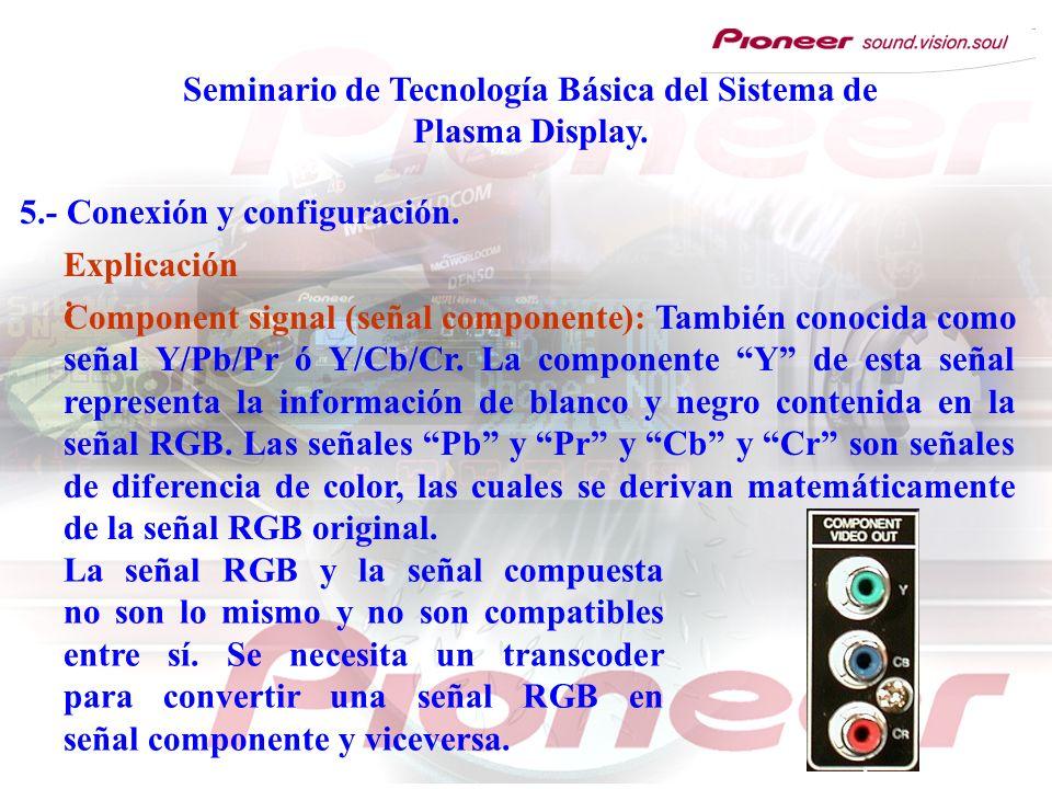 Seminario de Tecnología Básica del Sistema de Plasma Display. 5.- Conexión y configuración. Component signal (señal componente): También conocida como