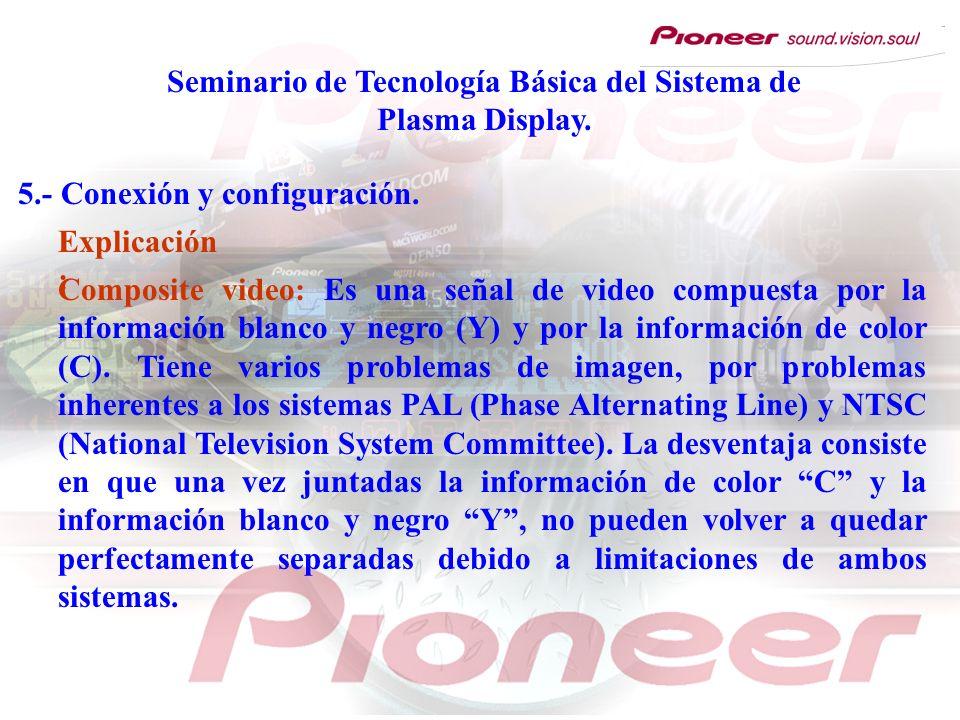 Seminario de Tecnología Básica del Sistema de Plasma Display. 5.- Conexión y configuración. Composite video: Es una señal de video compuesta por la in