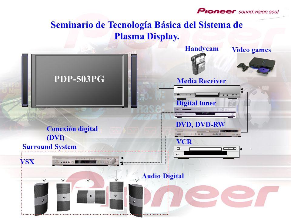 Seminario de Tecnología Básica del Sistema de Plasma Display. Video games VSX VCR Digital tuner DVD, DVD-RW Media Receiver Handycam Surround System Co