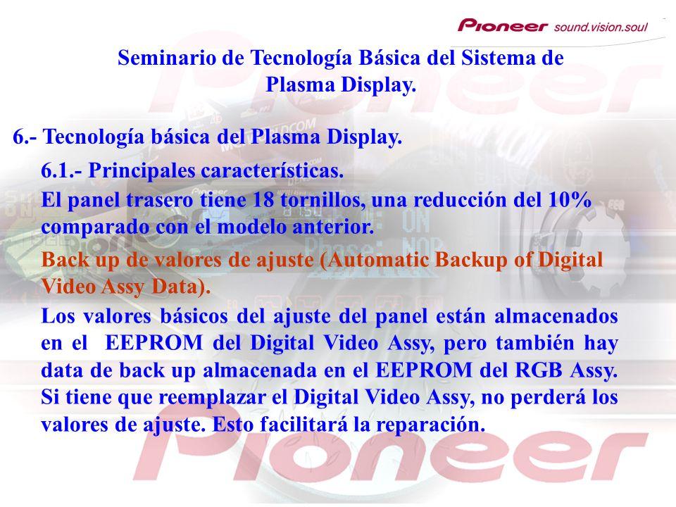 Seminario de Tecnología Básica del Sistema de Plasma Display. 6.- Tecnología básica del Plasma Display. 6.1.- Principales características. El panel tr