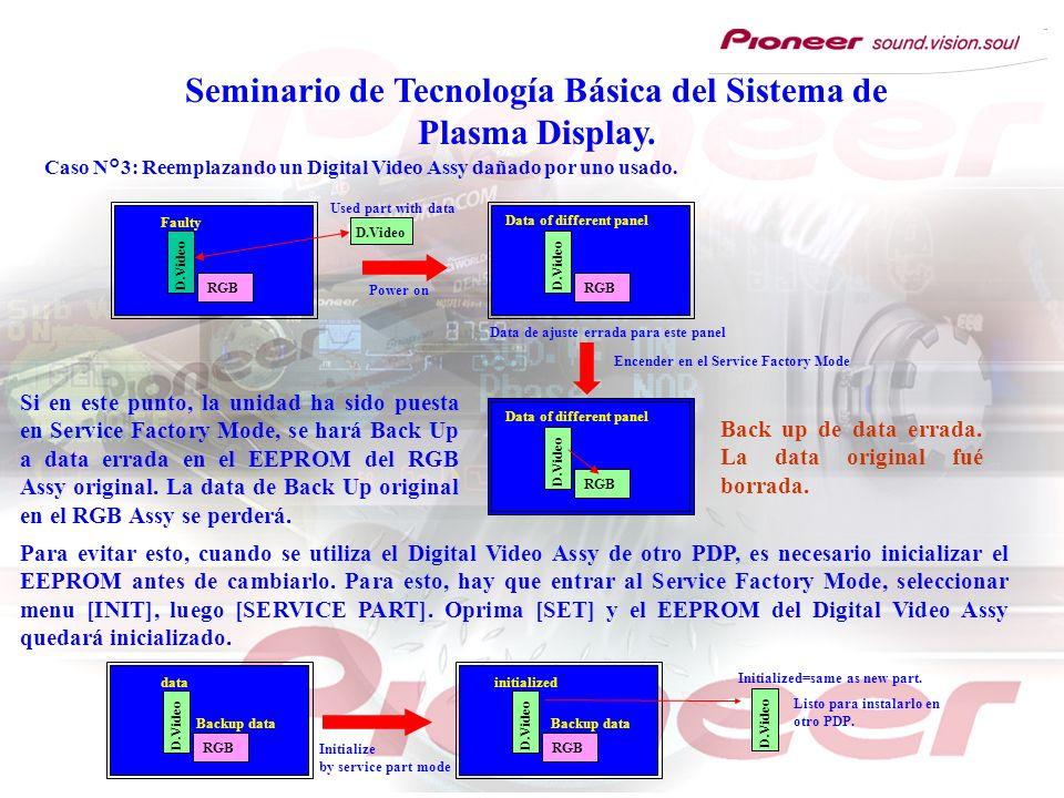 Seminario de Tecnología Básica del Sistema de Plasma Display. RGB D.Video Used part with data Faulty RGB D.Video Power on Data of different panel Data