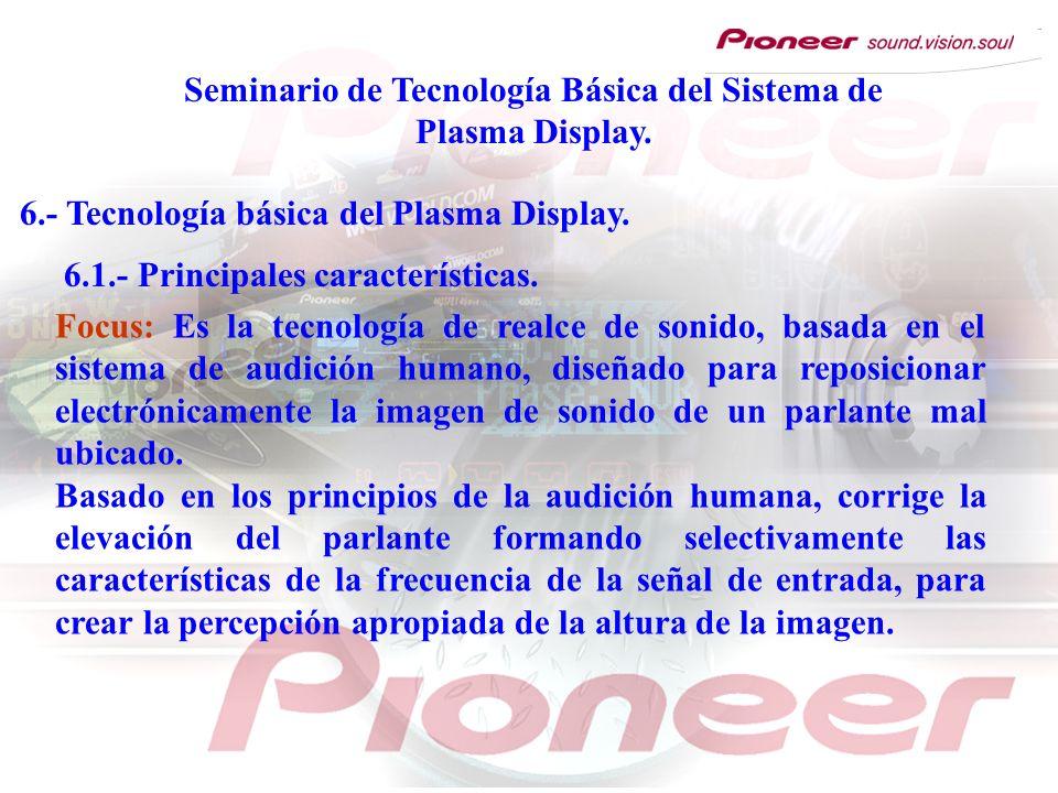 Seminario de Tecnología Básica del Sistema de Plasma Display. 6.- Tecnología básica del Plasma Display. 6.1.- Principales características. Focus: Es l