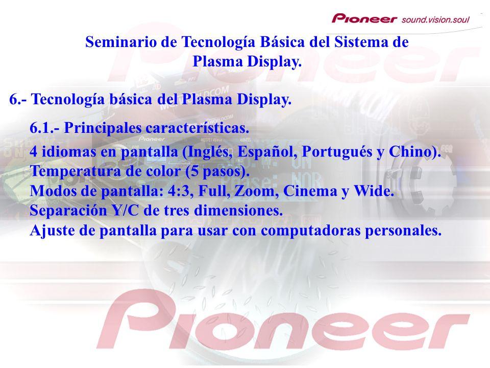 Seminario de Tecnología Básica del Sistema de Plasma Display. 6.- Tecnología básica del Plasma Display. 6.1.- Principales características. 4 idiomas e