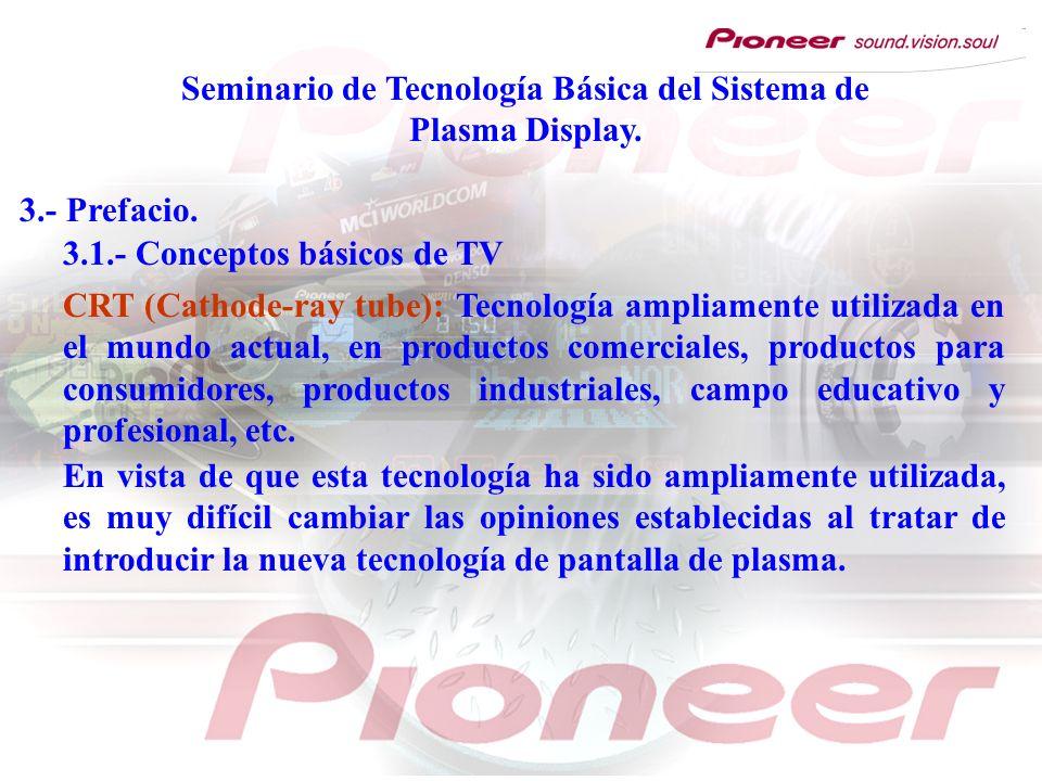 Seminario de Tecnología Básica del Sistema de Plasma Display. 3.- Prefacio. CRT (Cathode-ray tube): Tecnología ampliamente utilizada en el mundo actua