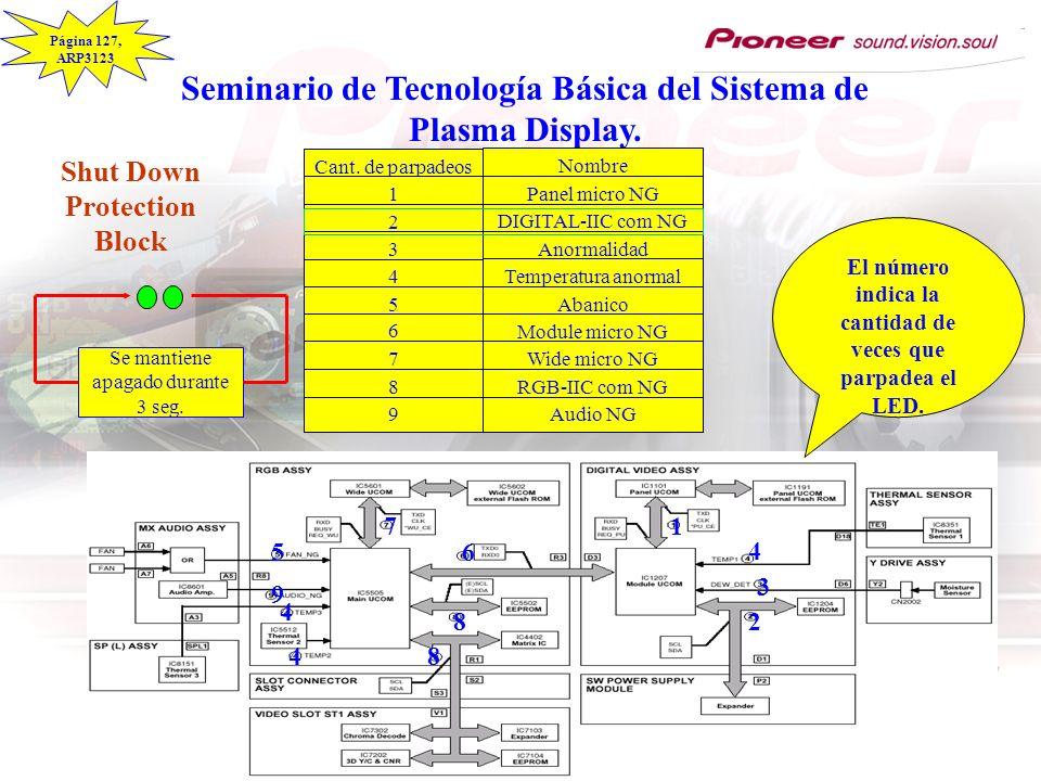 Seminario de Tecnología Básica del Sistema de Plasma Display. Cant. de parpadeos 1 2 3 4 5 6 7 8 9 Nombre Panel micro NG DIGITAL-IIC com NG Anormalida
