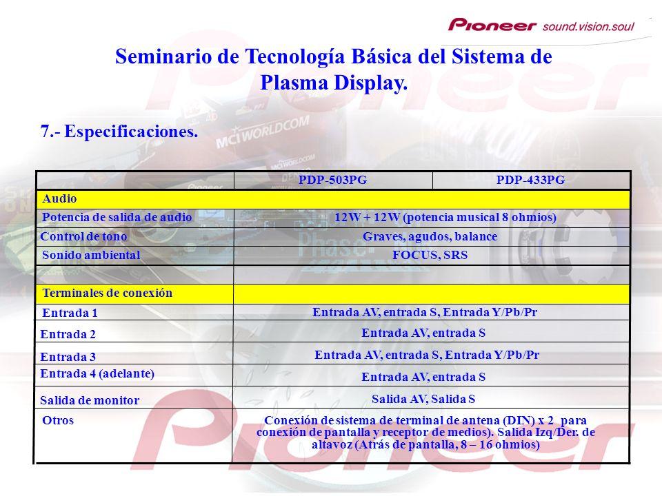 Seminario de Tecnología Básica del Sistema de Plasma Display. Entrada 1 FOCUS, SRS Graves, agudos, balance Terminales de conexión Conexión de sistema