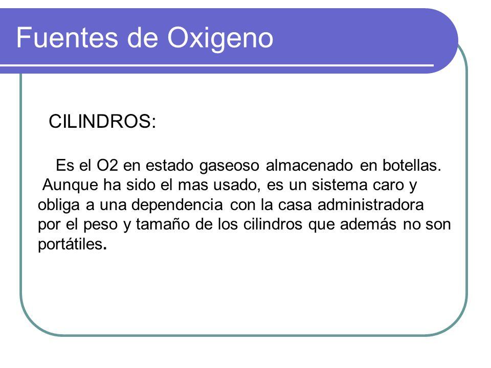 Fuentes de Oxigeno CILINDROS: Es el O2 en estado gaseoso almacenado en botellas. Aunque ha sido el mas usado, es un sistema caro y obliga a una depend
