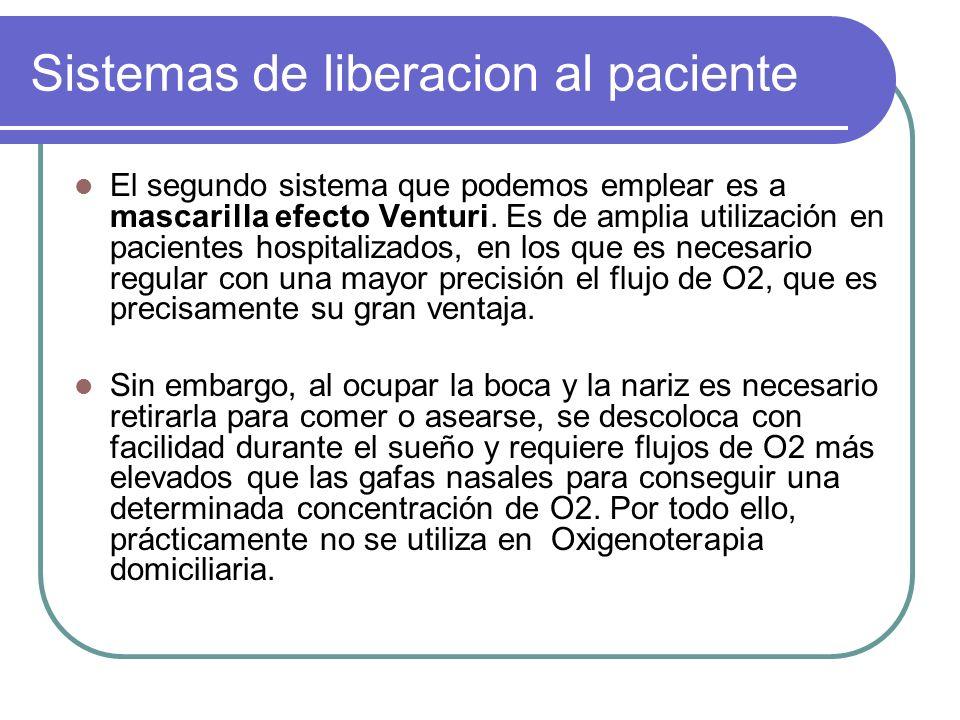 Sistemas de liberacion al paciente El segundo sistema que podemos emplear es a mascarilla efecto Venturi. Es de amplia utilización en pacientes hospit