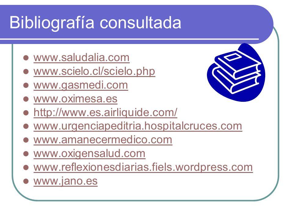 Bibliografía consultada www.saludalia.com www.scielo.cl/scielo.php www.gasmedi.com www.oximesa.es http://www.es.airliquide.com/ www.urgenciapeditria.h