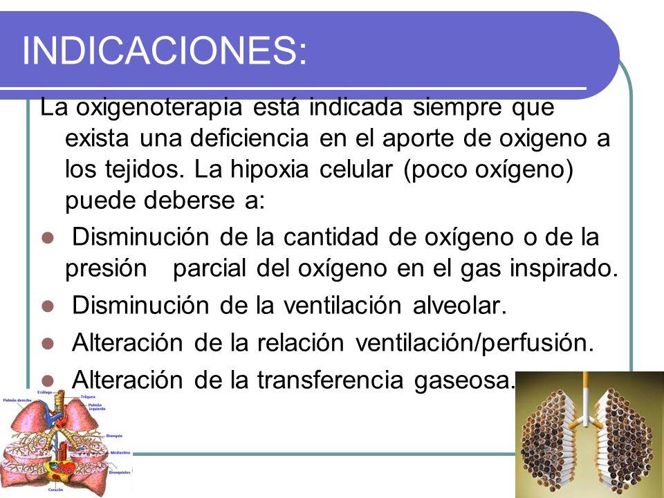 INDICACIONES: La oxigenoterapia está indicada siempre que exista una deficiencia en el aporte de oxigeno a los tejidos. La hipoxia celular (poco oxíge