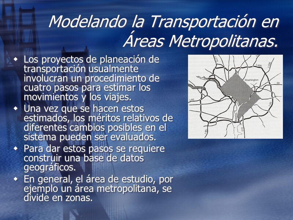 Modelando la Transportación en Áreas Metropolitanas. Los proyectos de planeación de transportación usualmente involucran un procedimiento de cuatro pa