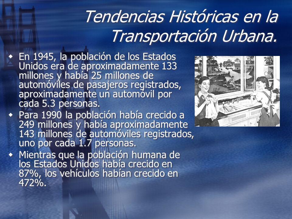 Tendencias Históricas en la Transportación Urbana. En 1945, la población de los Estados Unidos era de aproximadamente 133 millones y había 25 millones