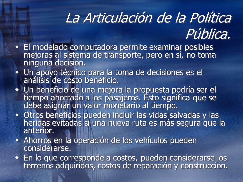 La Articulación de la Política Pública. El modelado computadora permite examinar posibles mejoras al sistema de transporte, pero en sí, no toma ningun