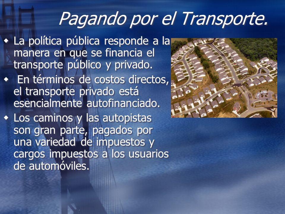 Pagando por el Transporte. La política pública responde a la manera en que se financia el transporte público y privado. En términos de costos directos