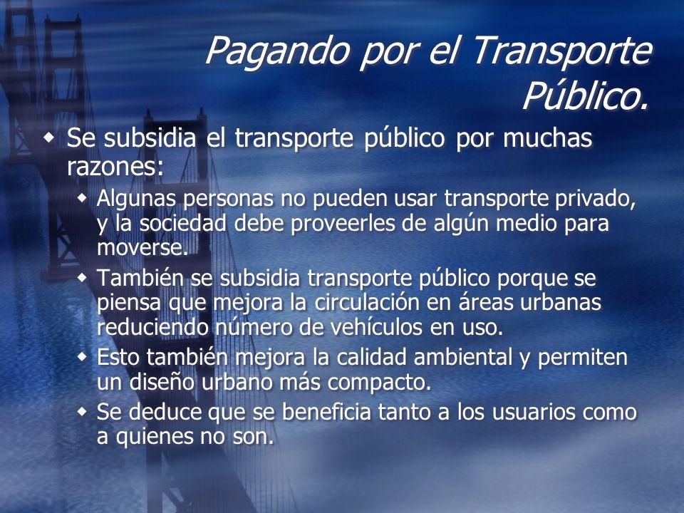 Pagando por el Transporte Público. Se subsidia el transporte público por muchas razones: Algunas personas no pueden usar transporte privado, y la soci