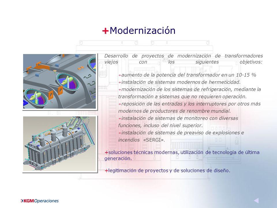 + +Modernización Desarrollo de proyectos de modernización de transformadores viejos con los siguientes objetivos: + aumento de la potencia del transformador en un 10-15 % + instalación de sistemas modernos de hermeticidad.