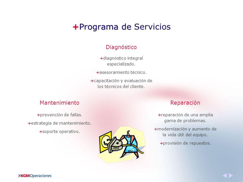 +Programa de +Programa de Servicios Diagnóstico Mantenimiento + diagnóstico integral especializado.