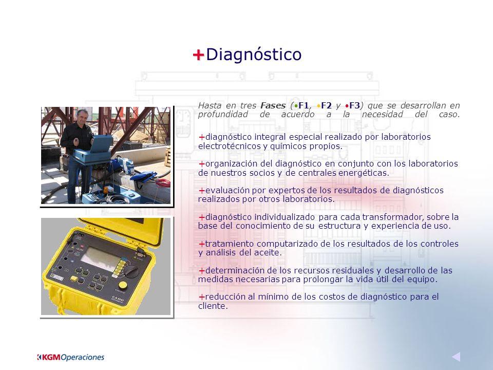 + +Diagnóstico Hasta en tres Fases (F1, F2 y F3) que se desarrollan en profundidad de acuerdo a la necesidad del caso.