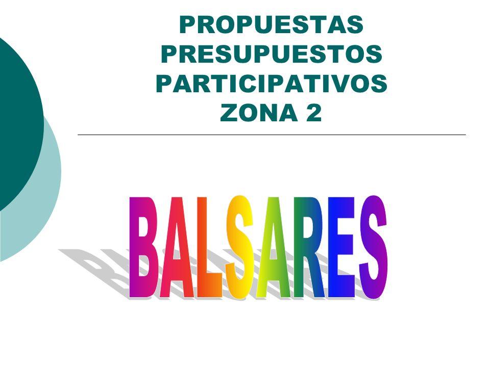 PROPUESTAS PRESUPUESTOS PARTICIPATIVOS ZONA 2