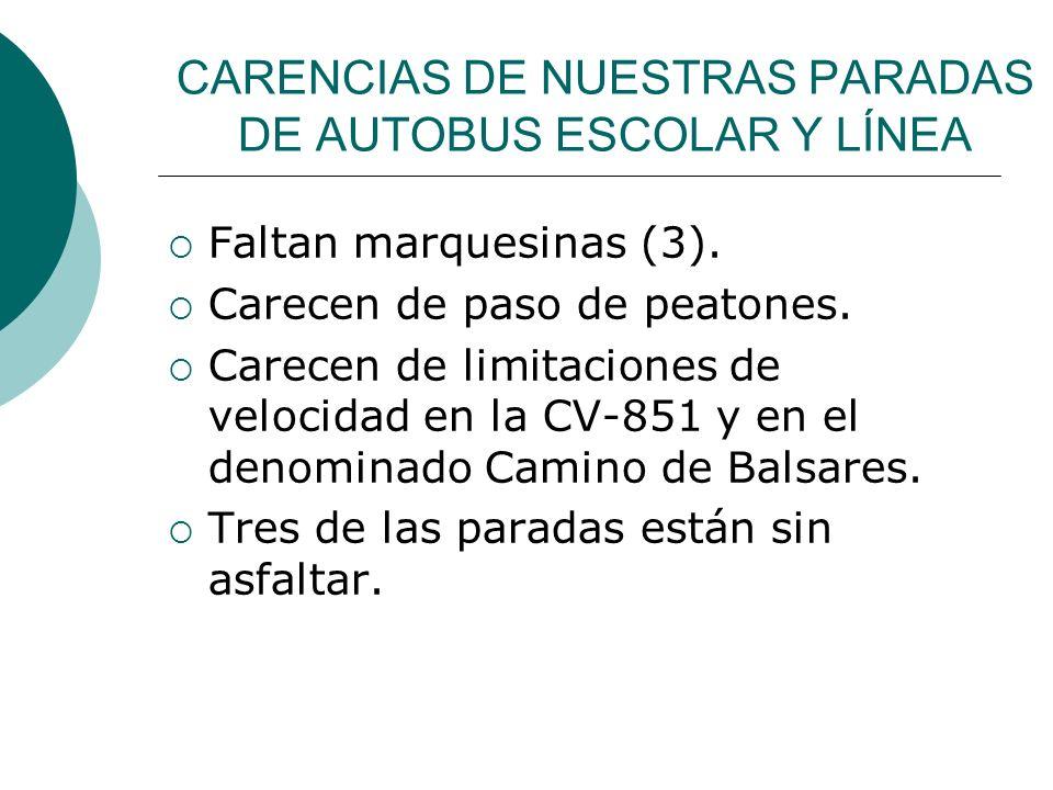 CARENCIAS DE NUESTRAS PARADAS DE AUTOBUS ESCOLAR Y LÍNEA Faltan marquesinas (3). Carecen de paso de peatones. Carecen de limitaciones de velocidad en