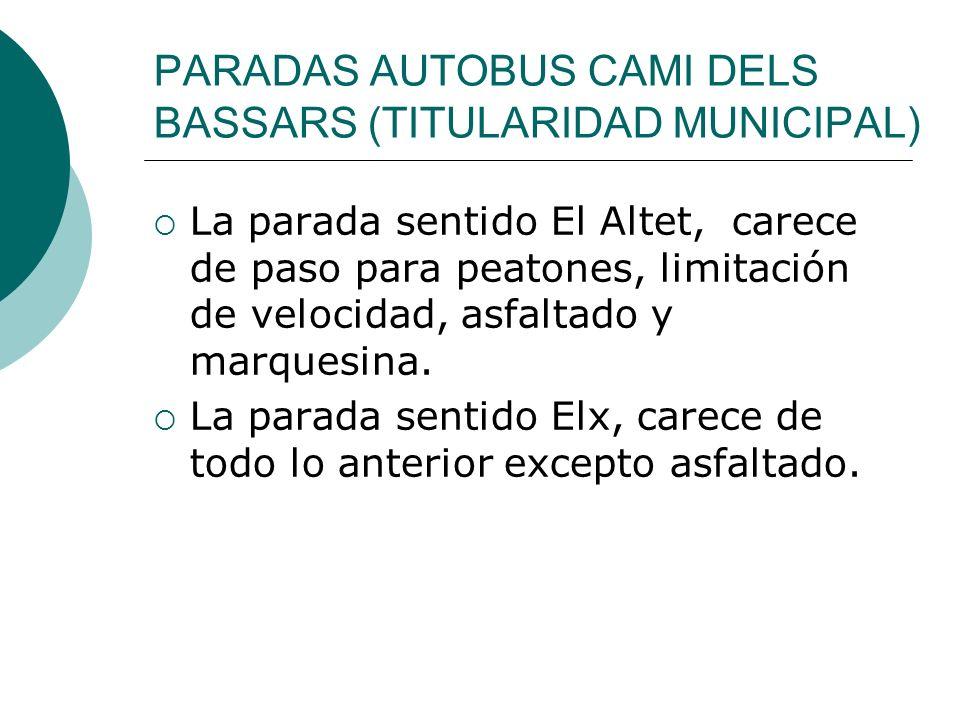 PARADAS AUTOBUS CAMI DELS BASSARS (TITULARIDAD MUNICIPAL) La parada sentido El Altet, carece de paso para peatones, limitación de velocidad, asfaltado