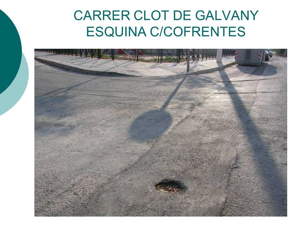 CARRER CLOT DE GALVANY ESQUINA C/COFRENTES