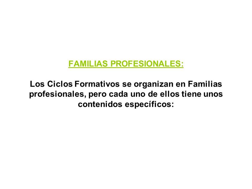 SALIDAS: Trabajo. La principal finalidad de los ciclos formativos es la adquisición de un conjunto de conocimientos, destrezas, habilidades y actitude