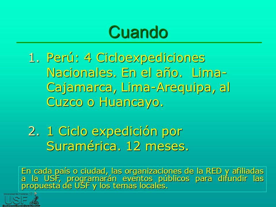 Cuando 1.Perú: 4 Cicloexpediciones Nacionales.En el año.