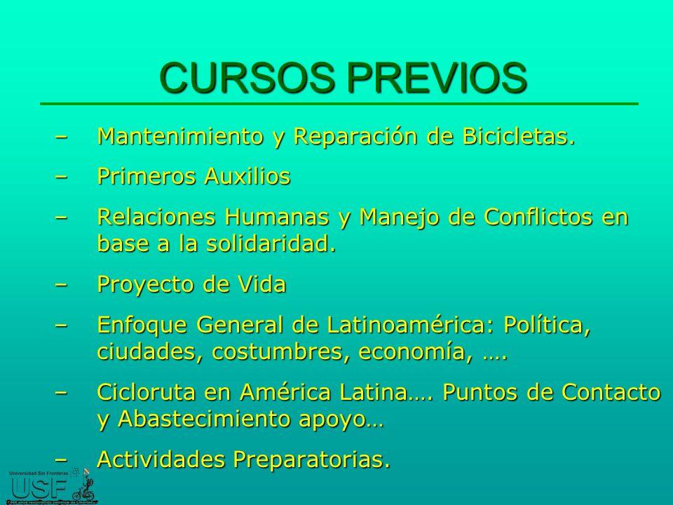 CURSOS PREVIOS –Mantenimiento y Reparación de Bicicletas.