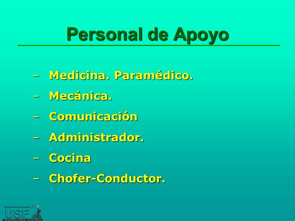 Personal de Apoyo –Medicina.Paramédico. –Mecánica.