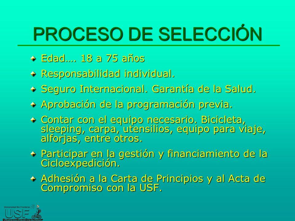 PROCESO DE SELECCIÓN Edad….18 a 75 años Responsabilidad individual.