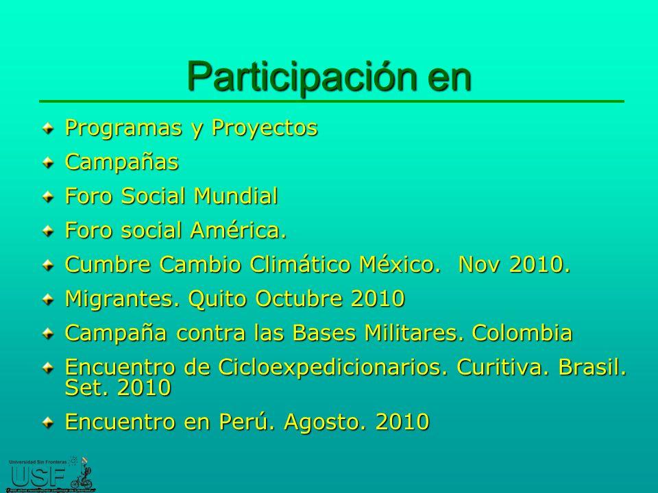 Participación en Programas y Proyectos Campañas Foro Social Mundial Foro social América.
