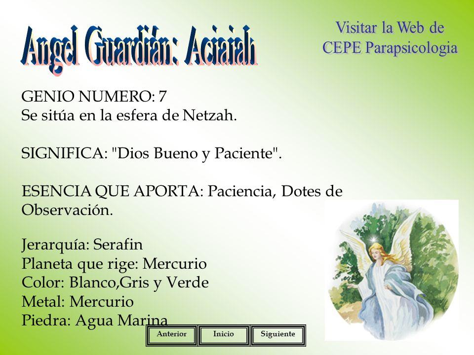 GENIO NUMERO: 7 Se sitúa en la esfera de Netzah.SIGNIFICA: Dios Bueno y Paciente .