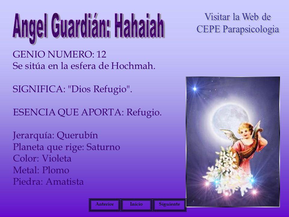 GENIO NUMERO: 12 Se sitúa en la esfera de Hochmah. SIGNIFICA: