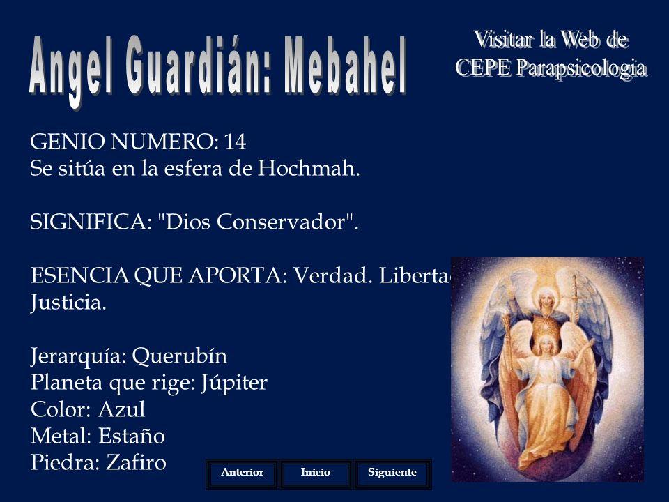 GENIO NUMERO: 14 Se sitúa en la esfera de Hochmah.