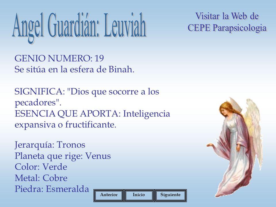 GENIO NUMERO: 19 Se sitúa en la esfera de Binah.SIGNIFICA: Dios que socorre a los pecadores .