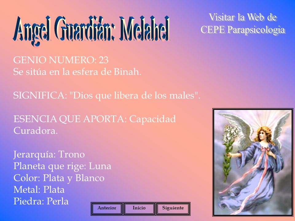 GENIO NUMERO: 23 Se sitúa en la esfera de Binah.SIGNIFICA: Dios que libera de los males .