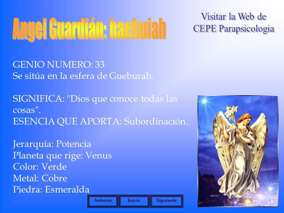GENIO NUMERO: 33 Se sitúa en la esfera de Gueburah.