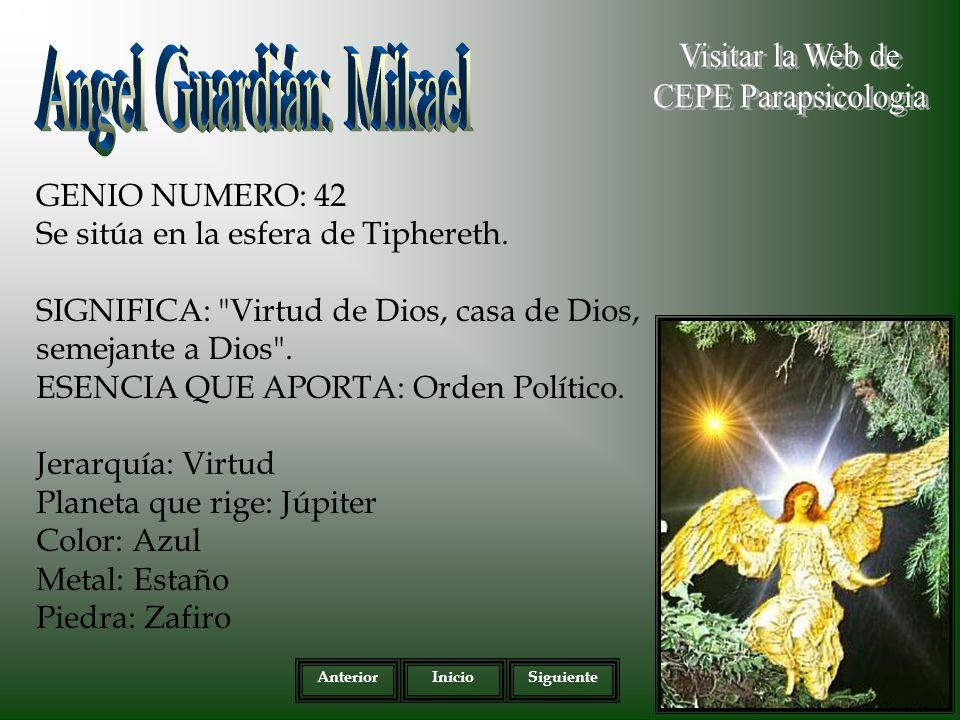 GENIO NUMERO: 42 Se sitúa en la esfera de Tiphereth.