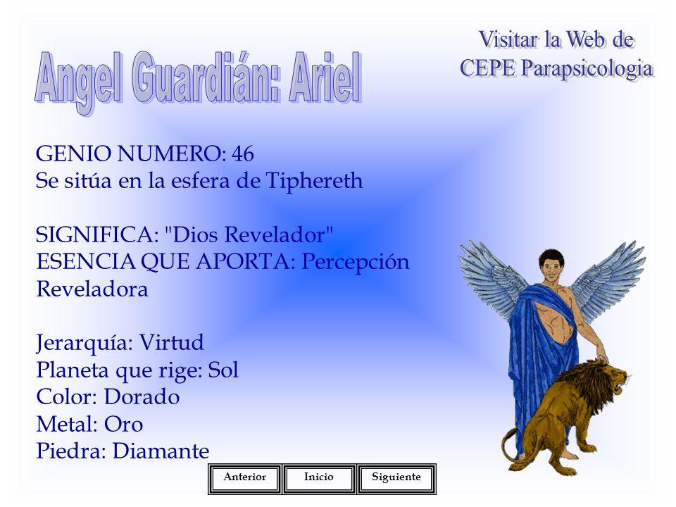 GENIO NUMERO: 46 Se sitúa en la esfera de Tiphereth SIGNIFICA: