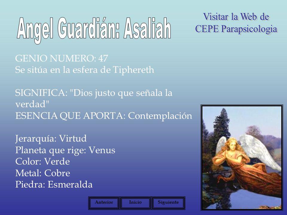 GENIO NUMERO: 47 Se sitúa en la esfera de Tiphereth SIGNIFICA: