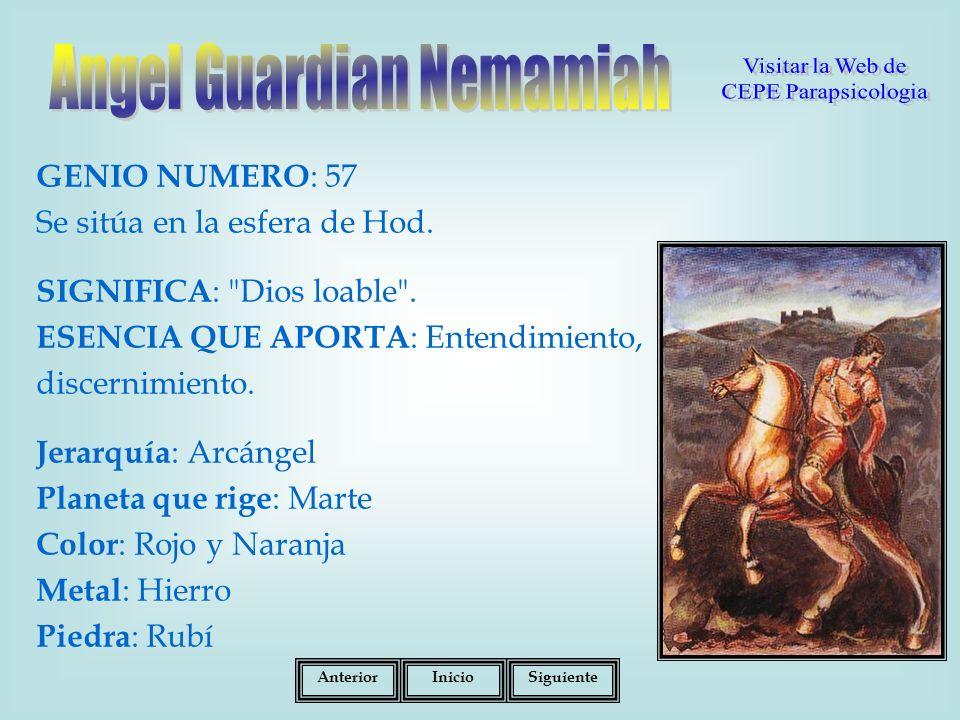 GENIO NUMERO : 57 Se sitúa en la esfera de Hod.SIGNIFICA : Dios loable .