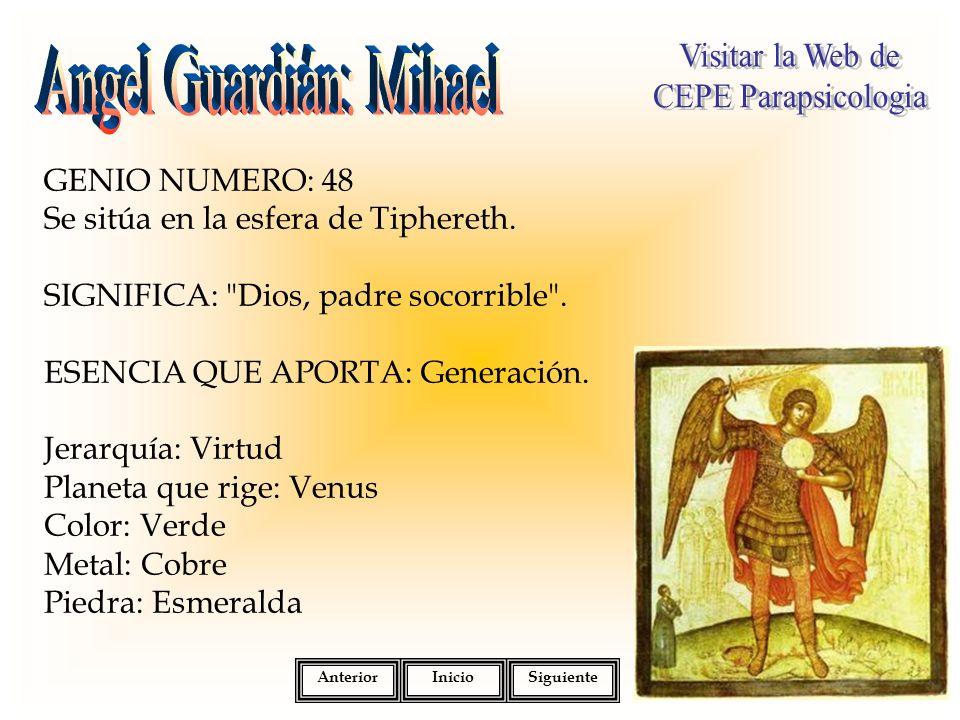 GENIO NUMERO: 48 Se sitúa en la esfera de Tiphereth. SIGNIFICA: