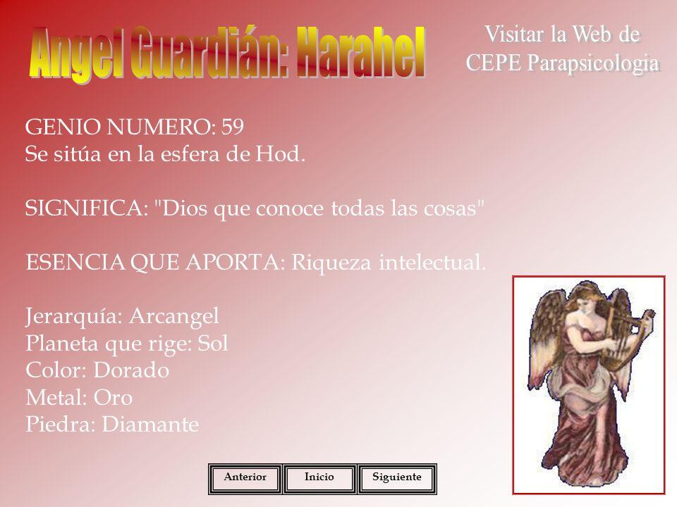 GENIO NUMERO: 60 Se sitúa en la esfera de Hod.SIGNIFICA: Dios que consuela a los oprimidos .